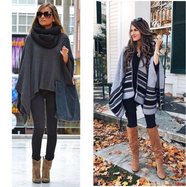 Схеми і фото модних в`язаних пончо